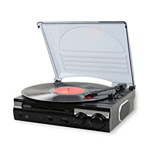 Jensen JTA-230 3 Speed Stereo Turntable with Built In Speakers, Software to Convert Records to MP3, RCA Line Out, Pitch and Tone Control