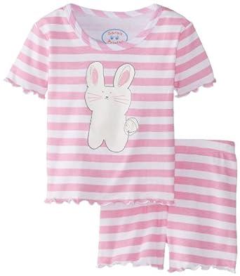 Sara's Prints Little Girls'  Fitted Short Pajamas, Light Pink/White Stripe Bunny Screenprint, 5