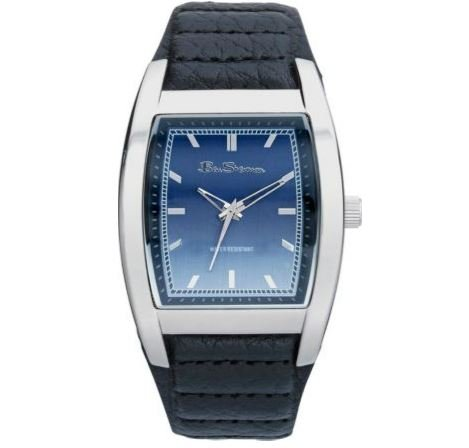 Blue Easy To Read Dial Ben Sherman Men's Black Leather Strap Watch