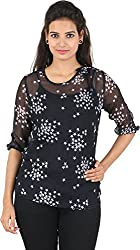 Amadeo Women's 3/4 th Sleeve Top (KRISHA28, Navy Blue, Medium)