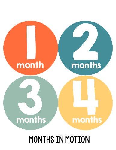 Months in Motion 100 Monthly Baby Stickers Baby Boy Milestone Age Sticker Photo