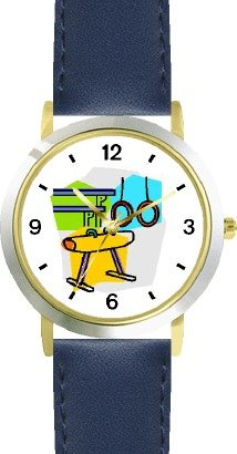 Gymnastic Equipment or Apparatus Montage - Rings, Pommel Horse, Parallel Bars Gymnastics Theme - WATCHBUDDY® DELUXE TWO-TONE THEME WATCH - Arabic Numbers - Blue Leather Strap-Children's Size-Small ( Boy's Size & Girl's Size )