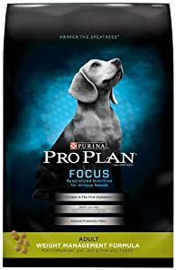 Purina Pro Plan Dry Dog Food, Focus, Adult Weight Management Formula, 34-Pound Bag, Pack of 1