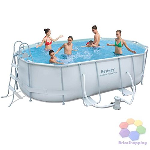 Bestway 56296 steel pro frame piscina ovale fuori terra for Amazon piscina