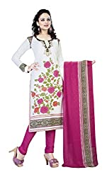 varsha Women's Unstitched Dress Material (White and Purple)
