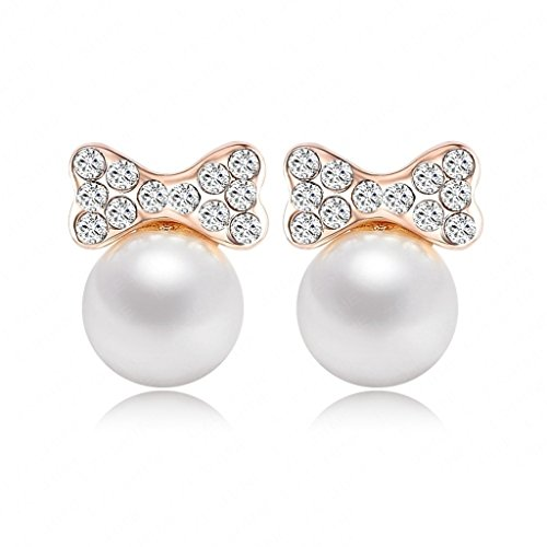 [Women Gold Plated Stud Earrings Bowknot Pearl Cubic Zirconia Earrings for Women by Aienid] (Scott Hall Costume)