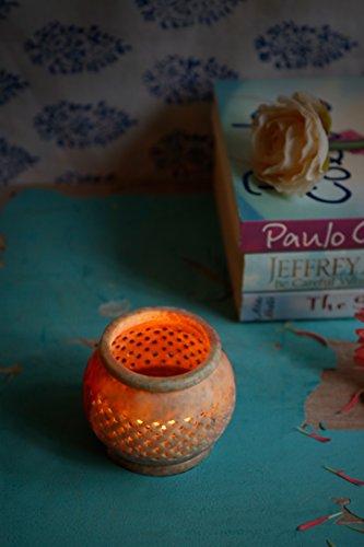 Store Indya, La pietra ollare naturale luce del te di candela votiva titolare del bruciatore di incenso con il modello di maglia di lavoro tradizionale indiano
