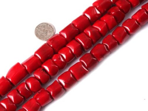 Sweet & Happy Girl'S Store 13-14mm Column Gemstone Red Coral Beads Strand 15