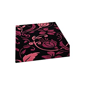 7 Sizes Available - Infinite - Damask Black/Pink - Good Quality Floral Rug from Flair Rugs