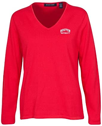 Oxford Golf NCAA Boston University Terriers Ladies Carson V-Neck Sweater, Cardinal,... by Oxford