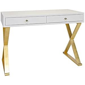 worlds away 2 drawer white lacquer desk with gold leafed x legs. Black Bedroom Furniture Sets. Home Design Ideas