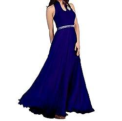 Ramdev Enterprise Women's Velvet Gown (Gown Blue_Blue_Free Size)