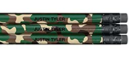 Personalized Round Camouflage Pencils Set of 12