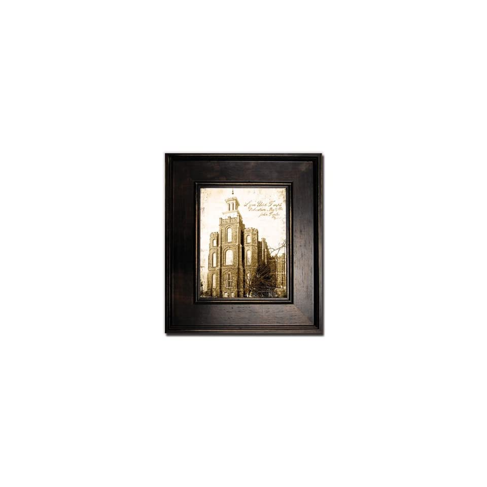 Antiqued logan temple print large black frame perfect for Home interiors and gifts framed art