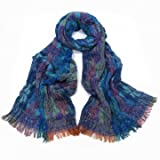Winter Scarf Wrap Multi Color's Thick Crinkle Fabric Turqouise Blues 175 x 25 cm
