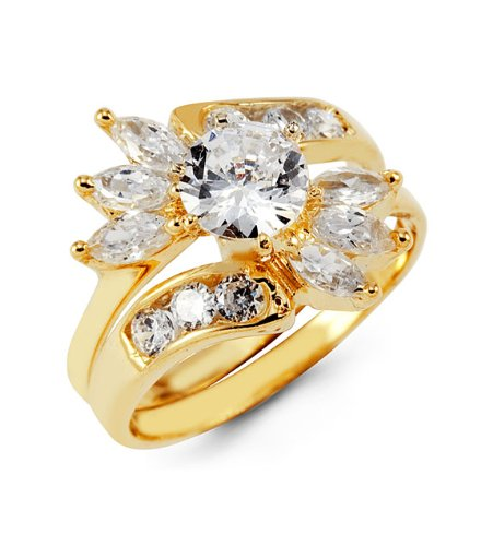 14k Yellow Gold Marquise Round CZ Wedding Rings Set