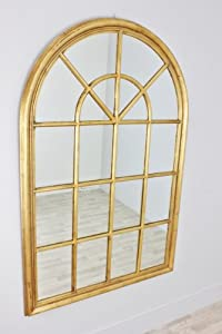 Vintagevibe longfield large gold window arch mirror for Gold window mirror