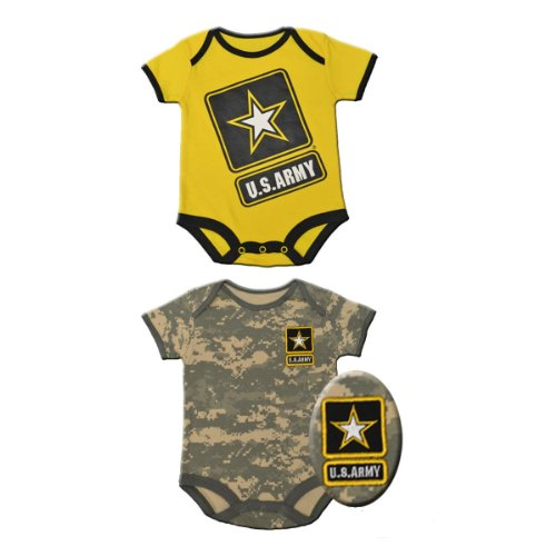 2pk Infant Baby Acu Army Outfits - Yellow & Camo Gift Sets (3-6 Months)