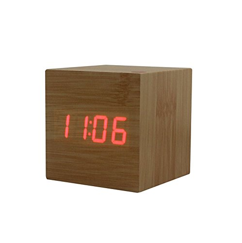 Amars(Tm) Ultra-Simple Fashion Wooden Rechargeable Alarm Clock With Usb Large Display With Temperature Date Sound Control Cube Shape 9507