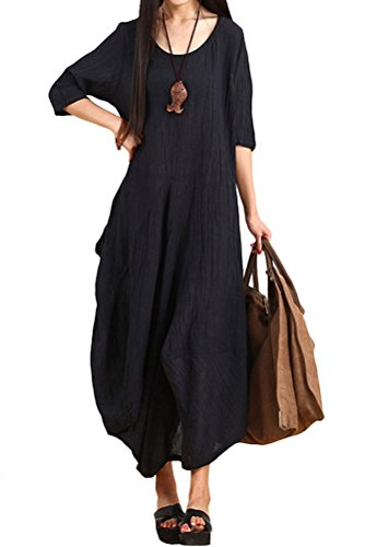 Mordenmiss Women's Summer New Half Sleeves Irregular Linen Dress