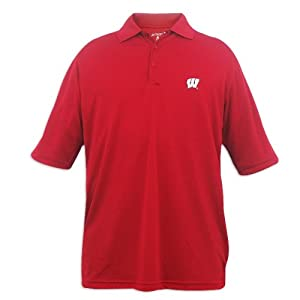 Wisconsin Badgers Mens Antigua Exceed Desert Dry Red Polo by Antigua