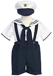 White Sailor Top w/Navy Shorts and suspenders, Size 4T