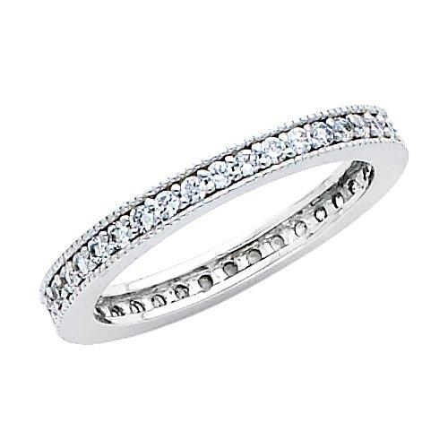 14K White Gold Round-shape CZ Cubic Zirconia Eternity Ring Band - size 6