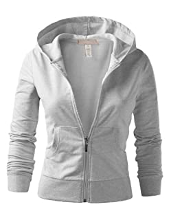 J.TOMSON Womens Athletic Basic Long Sleeve Zip-Up Hoodie
