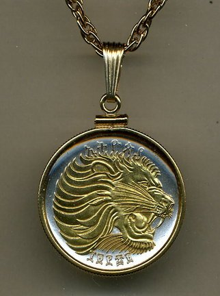 Gorgeous 2-Toned Gold on Silver Ethiopia Lion, Coin Necklaces