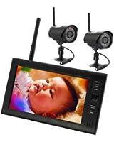 Magicfly® Kit vidéo surveillance sans fil TFT LCD moniteur 2.4GHZ DVR Caméra de surveillance vidéo surveillance sans fil bébé vidéo Avec 2 Caméras