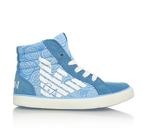 ARMANI - Sneaker celeste stringata, in tessuto e crosta,chiusura a zip, Bambino, ragazzo e ragazzi-35