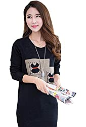 Allegra K Woman Round Neck Long Sleeve Zig-Zag Pattern Tunic Knitted Shirt