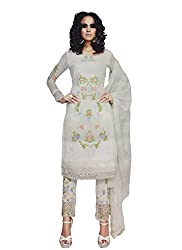 Namrah Collection Women's Georgette Embroidered (4001, White)