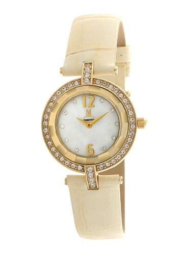 Momentus Stainless Steel with Beige Leather Band & Crystal Bezel Women's Watch #DW256G-08BD