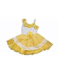 Mint Yellow Cotton Girl's Frock