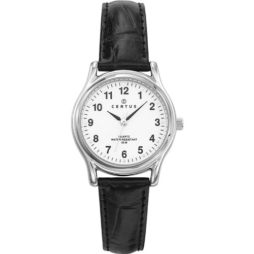 Certus 644384 - Ladies Watch - Analogue Quartz - White Dial - Black Leather Strap