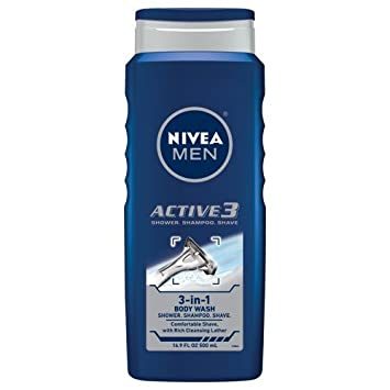 Nivea For Men Active3 Body Wash for Body, Hair & Shave, 16.9-Ounce Bottles (Pack of 3) $11.91