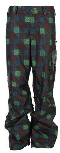 O6I2PC Burton Poacher Snowboard Pants Mocha Native Plaid Mens Sz XL