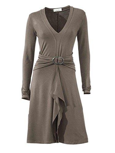 Linea Tesini Damen-Kleid Volantkleid Grau Größe 46
