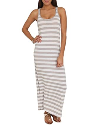 Wet Seal Women's Stripe Knit Maxi Dress L White