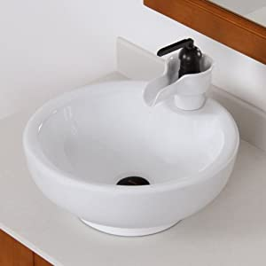 Elite bathroom white bowl round ceramic porcelain vessel sink oil rubbed bronze ceramic faucet for White porcelain bathroom faucets