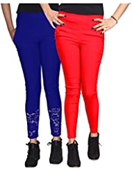 Xarans Stylish Looking Cotton Lycra Net, Button, Jegging Set Of Pcs