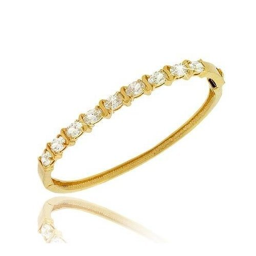 18K Gold over Sterling Silver CZ Oval 'S' Design Bangle Bracelet