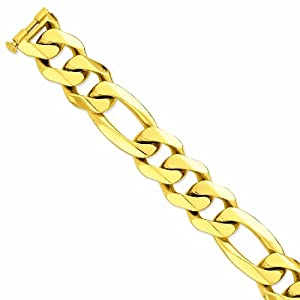 Genuine 14K Yellow Gold 27Mm Polished Heavy Figaro Link Bracelet 9 Inches 100% Satisfaction Guaranteed.