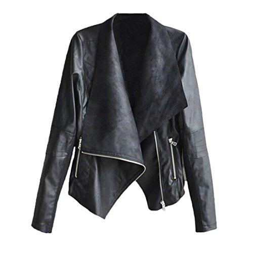 Xinantime Cappotto Giacche Manica Lunga Moto Invernali Giubbotto Finta Pelle Vintage Cappotti Donna (XL, nero)