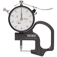"Mitutoyo 7361S Dial Thickness Gage, Tube Thickness Anvil, 0-0.5"" Range,  0.001"" Graduation, +/-0.001"" Accuracy"