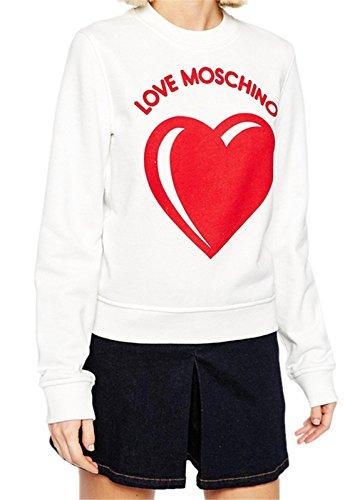 Love Moschino Letters Rosso a Cuori Stampato Graphic Grafica Scritta Logo Slogan Felpe Maglietta T-Shirt Tee Superiore Top Bianco M