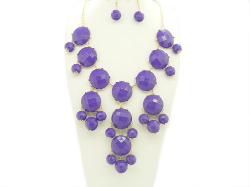 Bubble BIB Necklace Set Stone Cut - PURPLE COLOR