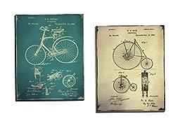 Portfolio Canvas Décor \'Bicycle Patent 1 Buff\' by GI ArtLab  16x20x1.5, 2 Pieces Canvas Wall Art