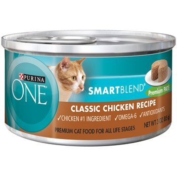 Purina ONE Smart Blend Classic Chicken Premium Pate Canned Cat Food (Pack of 24)